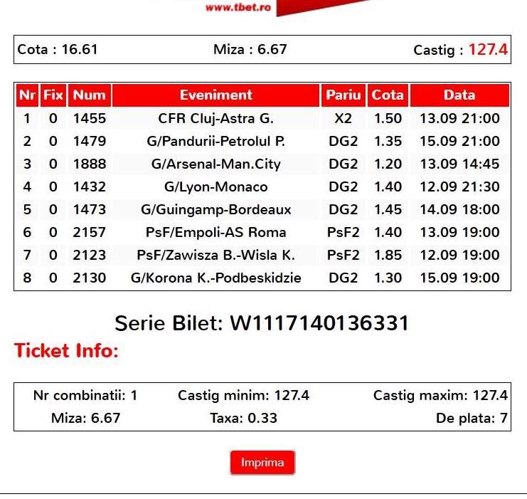 Bilet Clau Fcdb 11 Septembrie 2014