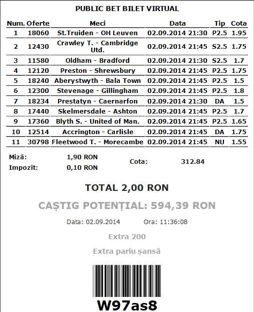 Bilet propus de Marius Sebastian pentru 02.09.2014