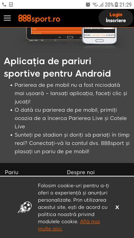 888Sport aplicație Android