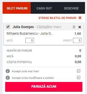 Mihaela Buzarnescu vs Julia Goerges ponturi pariuri WTA Roma 16 mai 2019 Ponturi pariuri Ponturi tenis