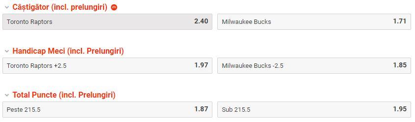 Toronto Raptors - Milwaukee Bucks (meciul 4) - reuseste Wade al 11-lea pont verde consecutiv? Ponturi Baschet Ponturi pariuri