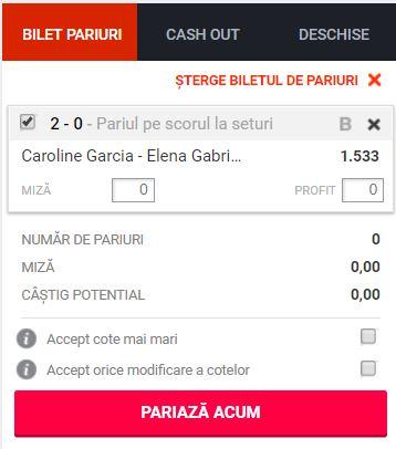 Caroline Garcia vs Elena Ruse ponturi pariuri  WTA Nottingham 14 iunie 2019 Ponturi pariuri Ponturi tenis