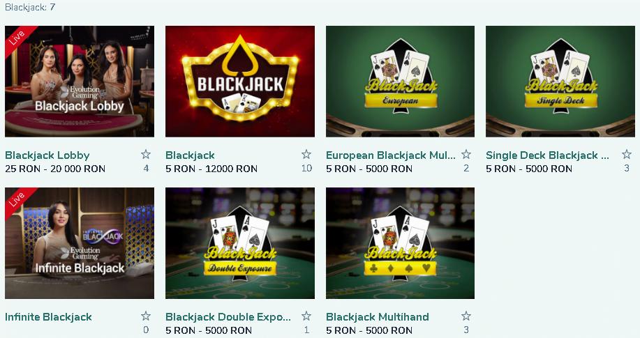 Blackjack la Vlad Cazino