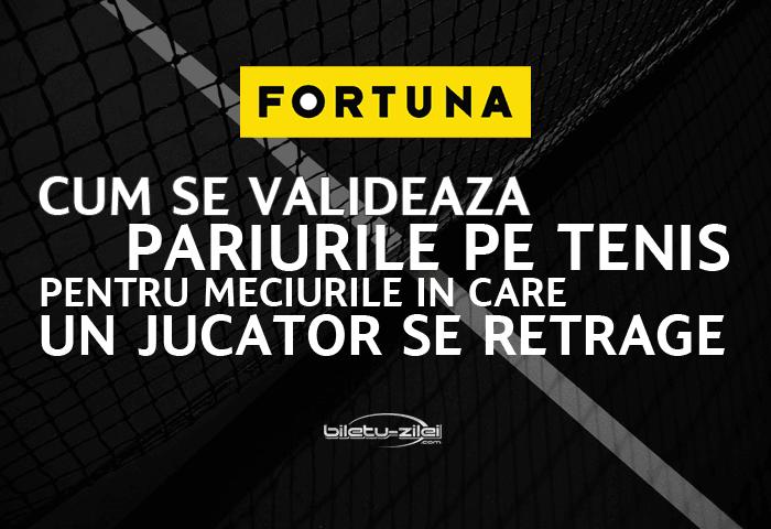Fortuna – cum se validează pariurile pe tenis când un jucător se retrage