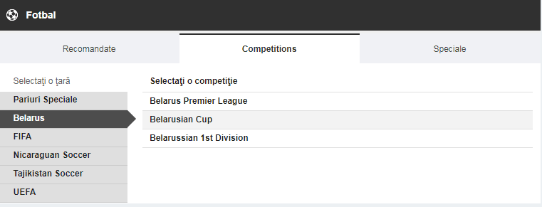 betfair competiții