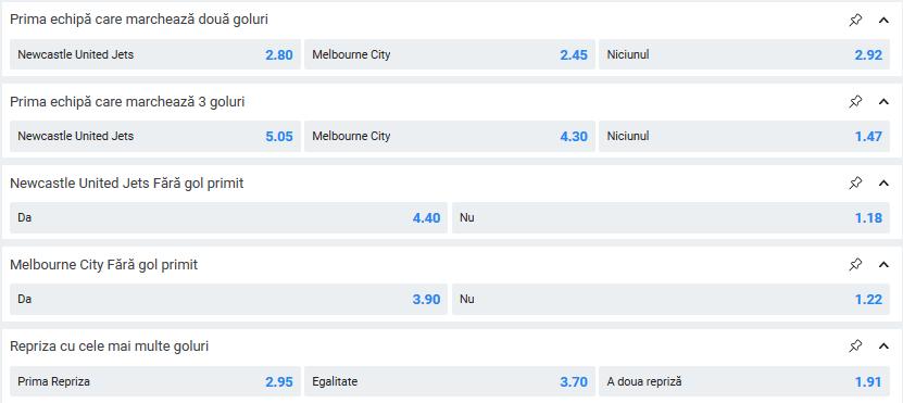 Newcastle Jets - Melbourne City cote pariuri