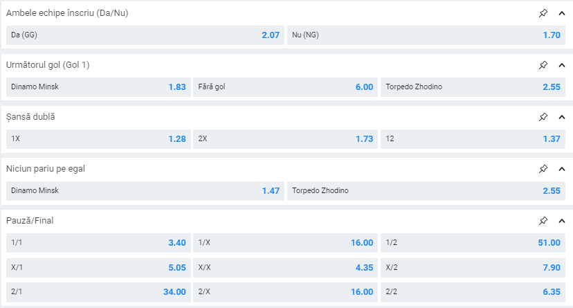 Dinamo Minsk - Zhodino ponturi pariuri