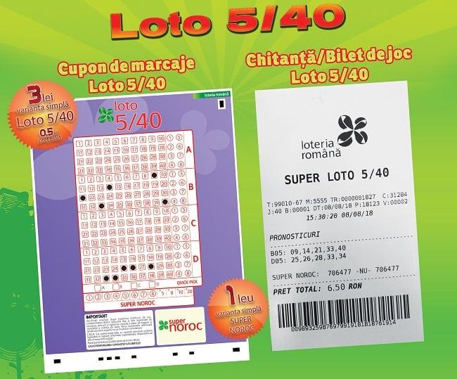 bilet loto 5 din 40