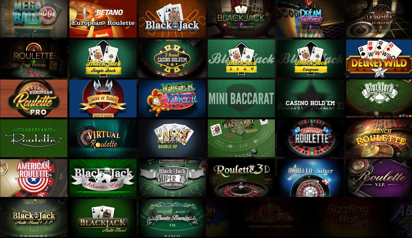 Betano Casino jocuri de masă și cărți