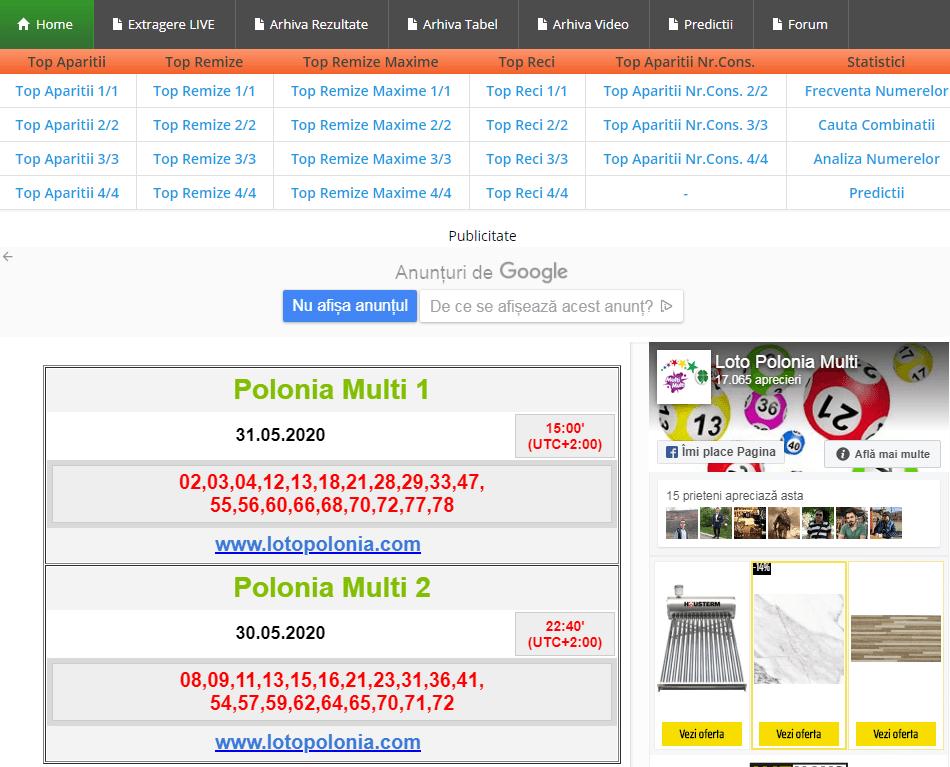 Rezultate și arhivă Loto Polonia 20/80