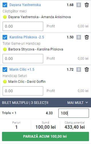 Biletul Zilei Tenis 16.09.2020
