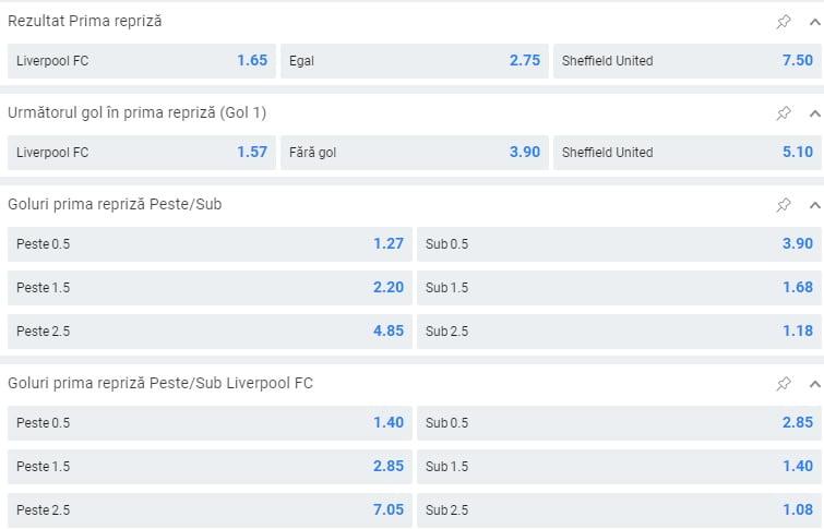Liverpool Sheffield United Cote La Pariuri