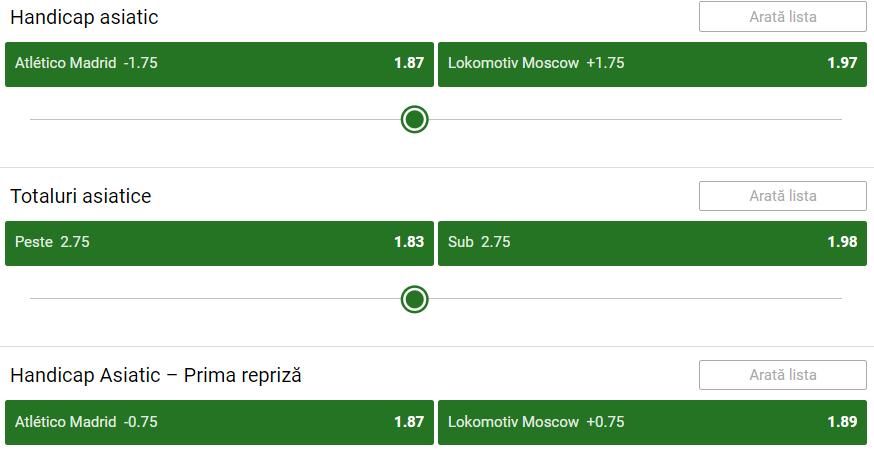 Atletico Madrid Lokomotiv Moscova Cote Pariuri