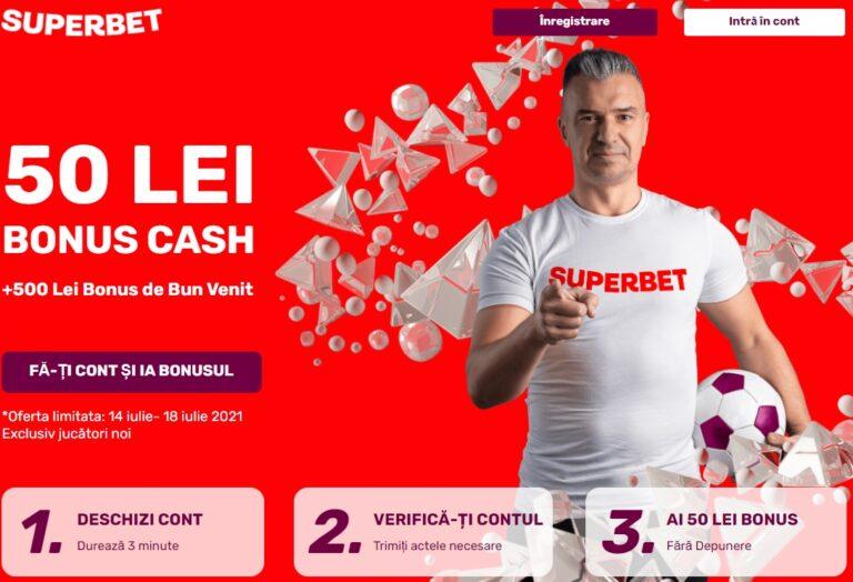 Bonus FĂRĂ DEPUNERE 25 lei + 100 rotiri gratuite la Superbet