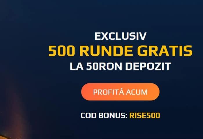 O depunere de 50 RON îți aduce 500 de rotiri gratuite