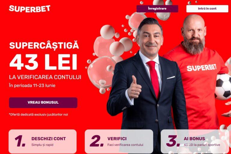 Bonus FĂRĂ DEPUNERE de 43 RON la Superbet