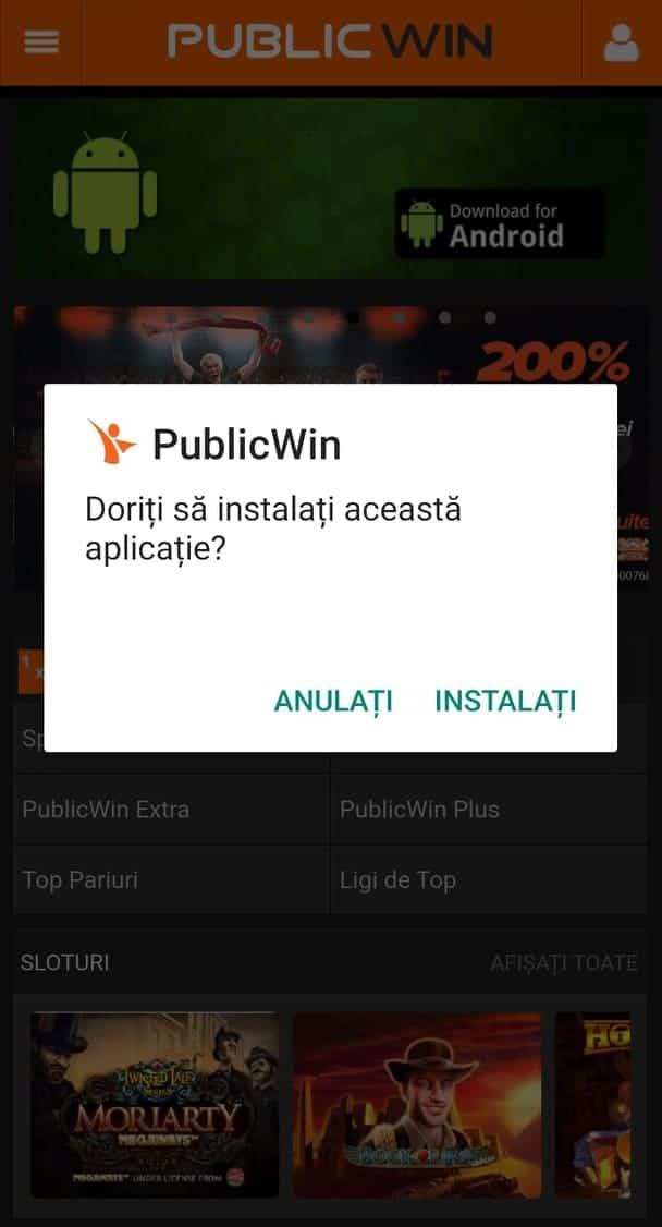 publicwin instalare apk