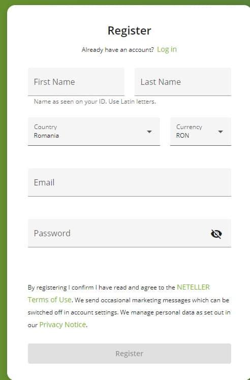 neteller formular inregistrare