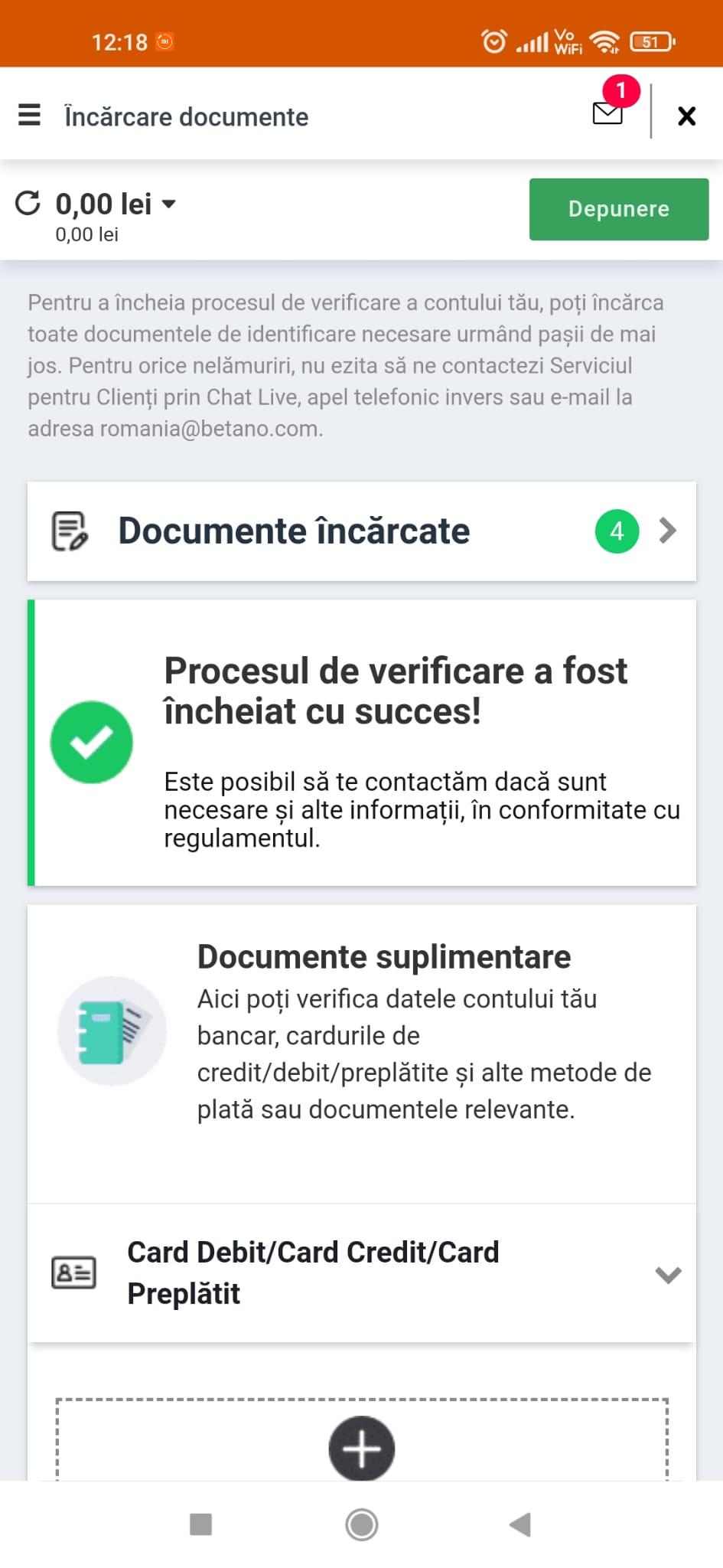 betano incarcare documente