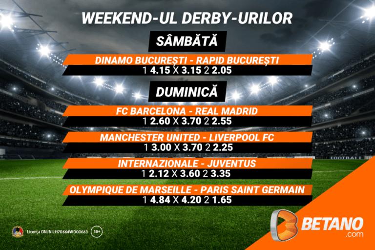 Weekend-ul derby-urilor pe Betano! Vezi ce șanse au favoriții tăi