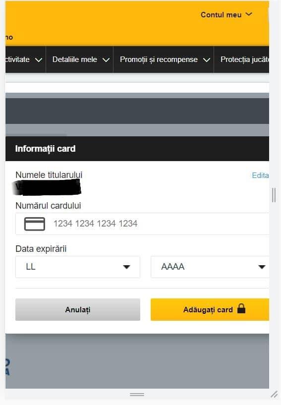 depunere card betfair metoda