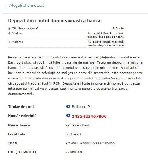 Vlad Cazino depunere transfer bancar