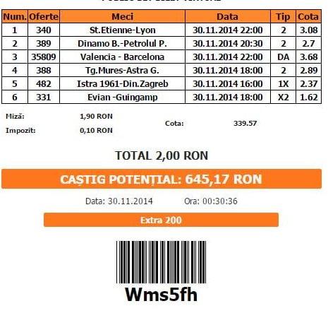Bilet pariuri Catalin 30.11.2014