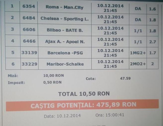 Bilet pariuri Ionut 10.12.2014