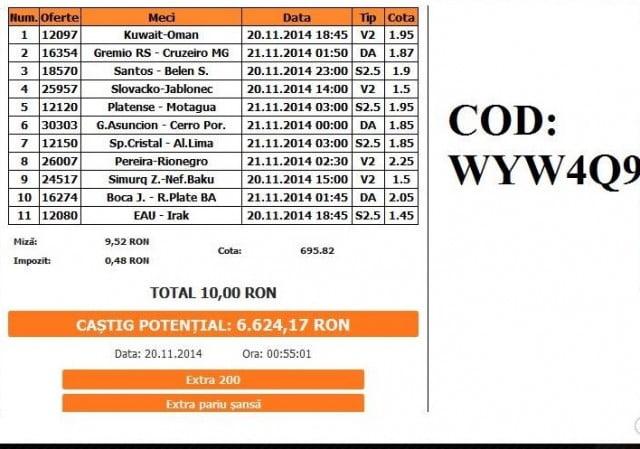 Bilet pariuri Mazilu 20.11.2014