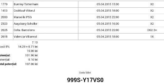 Bilet pariuri propus de Alex pentru 5 aprilie 2015