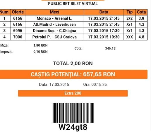 Bilet pariuri propus de Alex3 pentru 17 martie 2015