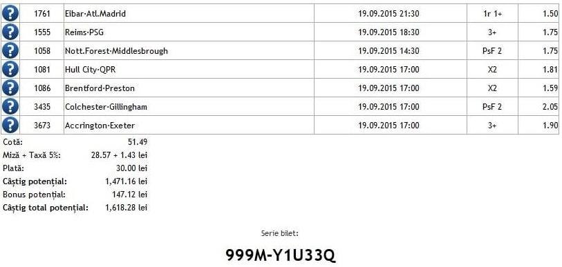 Bilet pariuri propus de Alex4 pentru 19 septembrie 2015