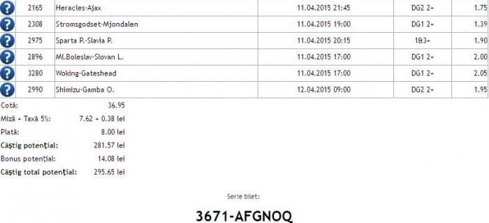 Bilet pariuri propus de Alexandru pentru 11 aprilie 2015