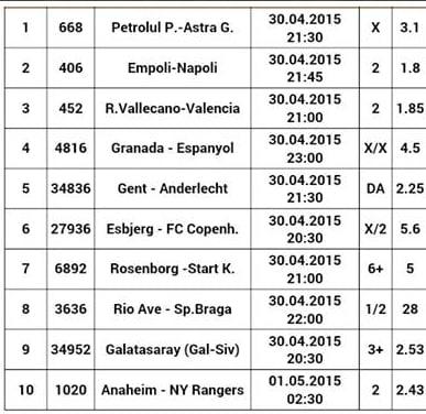Bilet pariuri propus de Alexandru pentru 30 aprilie 2015