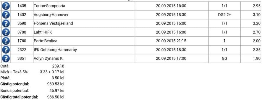 Bilet pariuri propus de Alexandru1 pentru 20 septembrie 2015