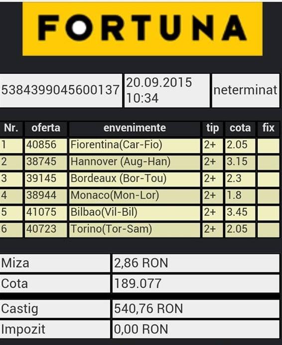Bilet pariuri propus de Alexandru2 pentru 20 septembrie 2015