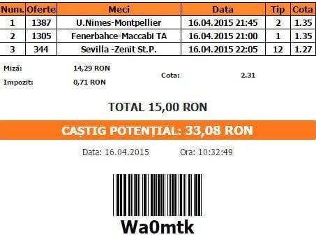 Bilet pariuri propus de Bogdan pentru 16 aprilie 2015