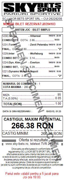 Bilet pariuri propus de Bogdan2 pentru 19 martie 2015