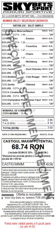 Bilet pariuri propus de Bogdan3 pentru 19 martie 2015