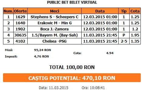 Bilet pariuri propus de Catalin pentru 11 martie 2015