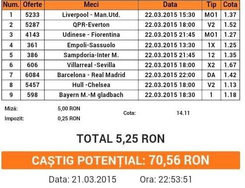 Bilet pariuri propus de Catalin pentru 22 martie 2015