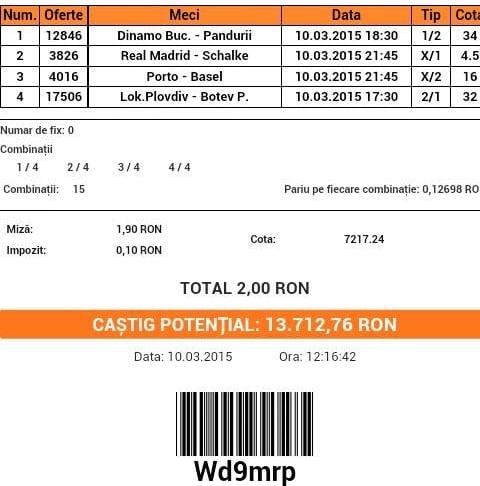 Bilet pariuri propus de Ciprian pentru 10 martie 2015