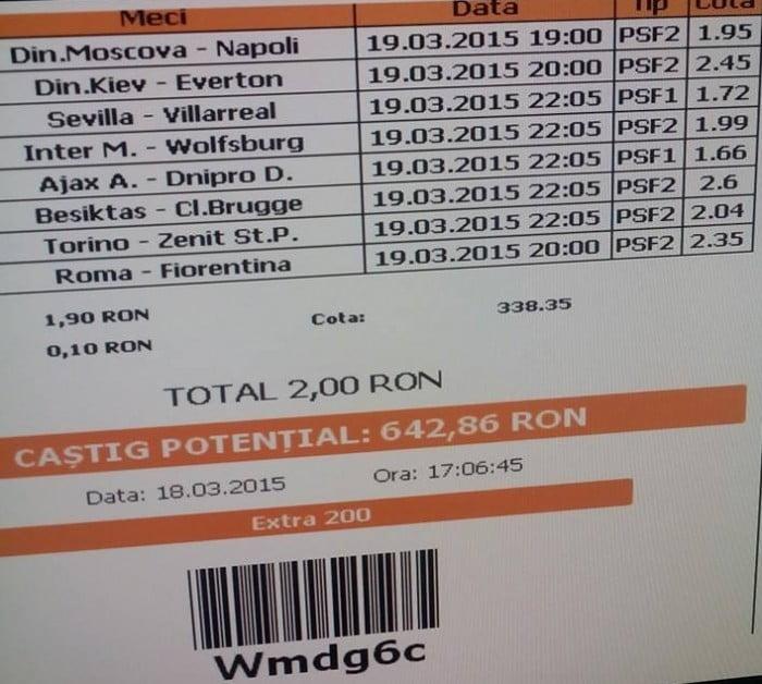 Bilet pariuri propus de Ciprian pentru 19 martie 2015