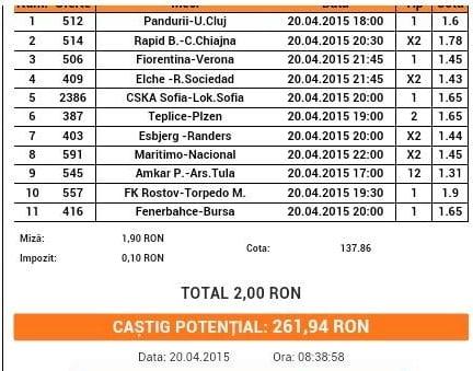 Bilet pariuri propus de Ciprian pentru 20 aprilie 2015