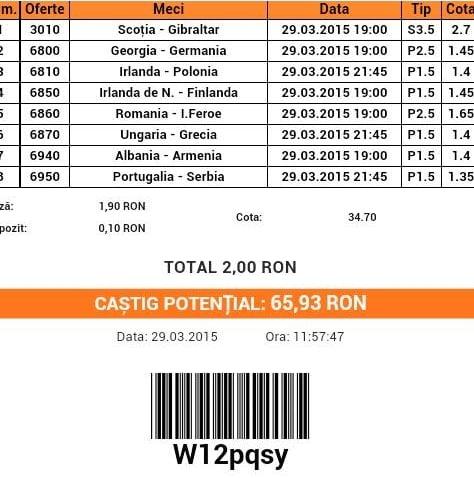 Bilet pariuri propus de Ciprian pentru 29 martie 2015