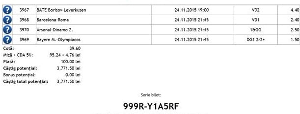 Bilet pariuri propus de Constantin pentru 24 noiembrie 2015