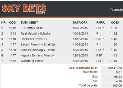 Bilet pariuri propus de Cornel pentru 10 martie 2015