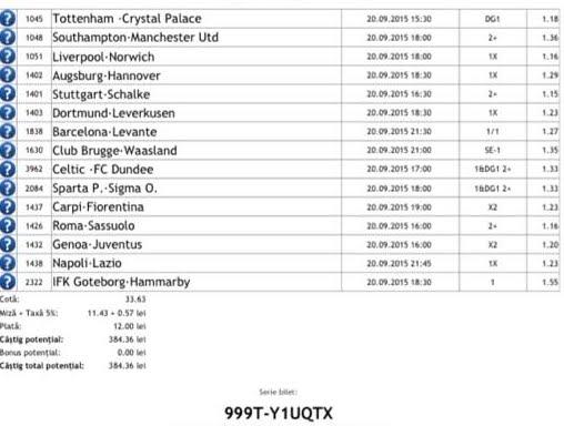 Bilet pariuri propus de Cornel pentru 20 septembrie 2015