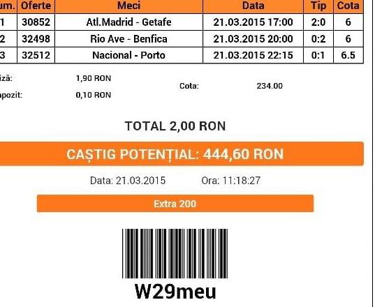 Bilet pariuri propus de Costel pentru 21 martie 2015