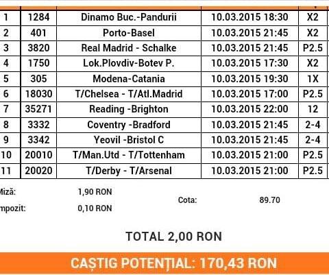Bilet pariuri propus de Costi pentru 10 martie 2015